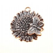 Sunflower With Butterfly Sterling Silver Charm